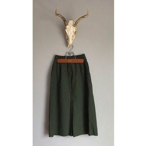Vintage Olive High Waisted Wool Skirt